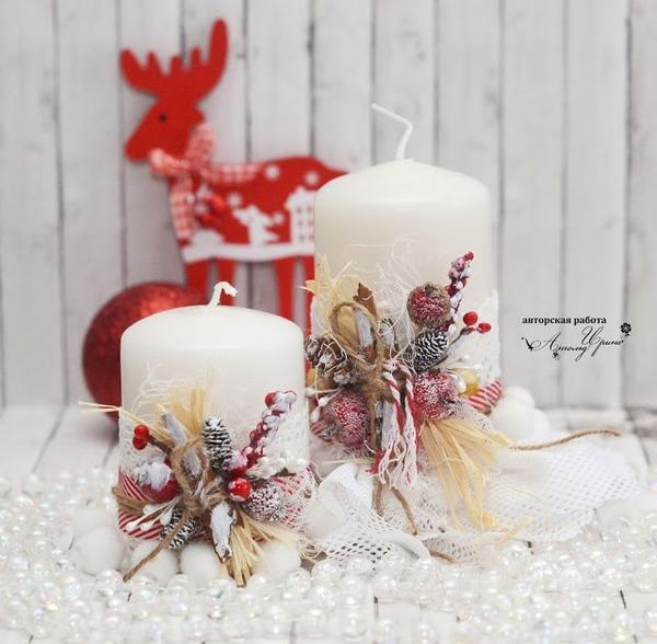Декорирование новогодних свечей своими руками