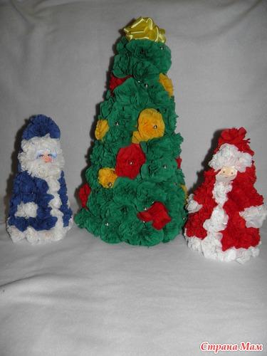 Новогодние елки своими руками из салфеток фото